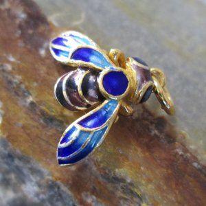 Cloisonné Enamel Charm QUEEN BEE Blue Honey Bee